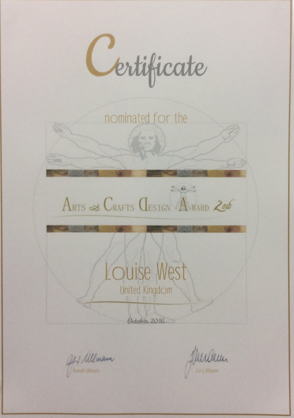 Nominee certificate for Arts and Crafts Design awards